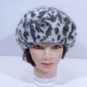 Bronte Amsterdam Angora Leopard Beret Hat